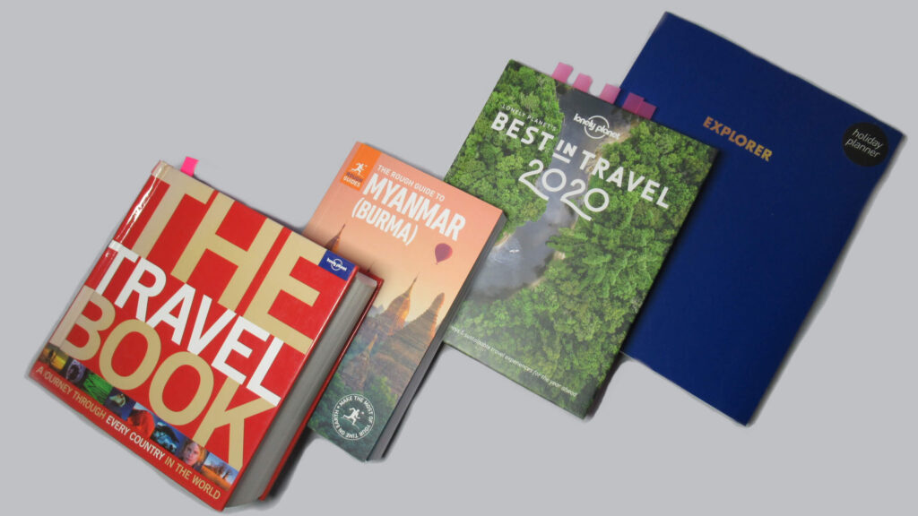 Four books are shown. 1: The Travel Book, 2: The Rough Guide to Myanmar, 3: Best in Travel 2020, 4: Explorer, holiday planner. Inspiration for some unique travel gifts this Valentine's Day!