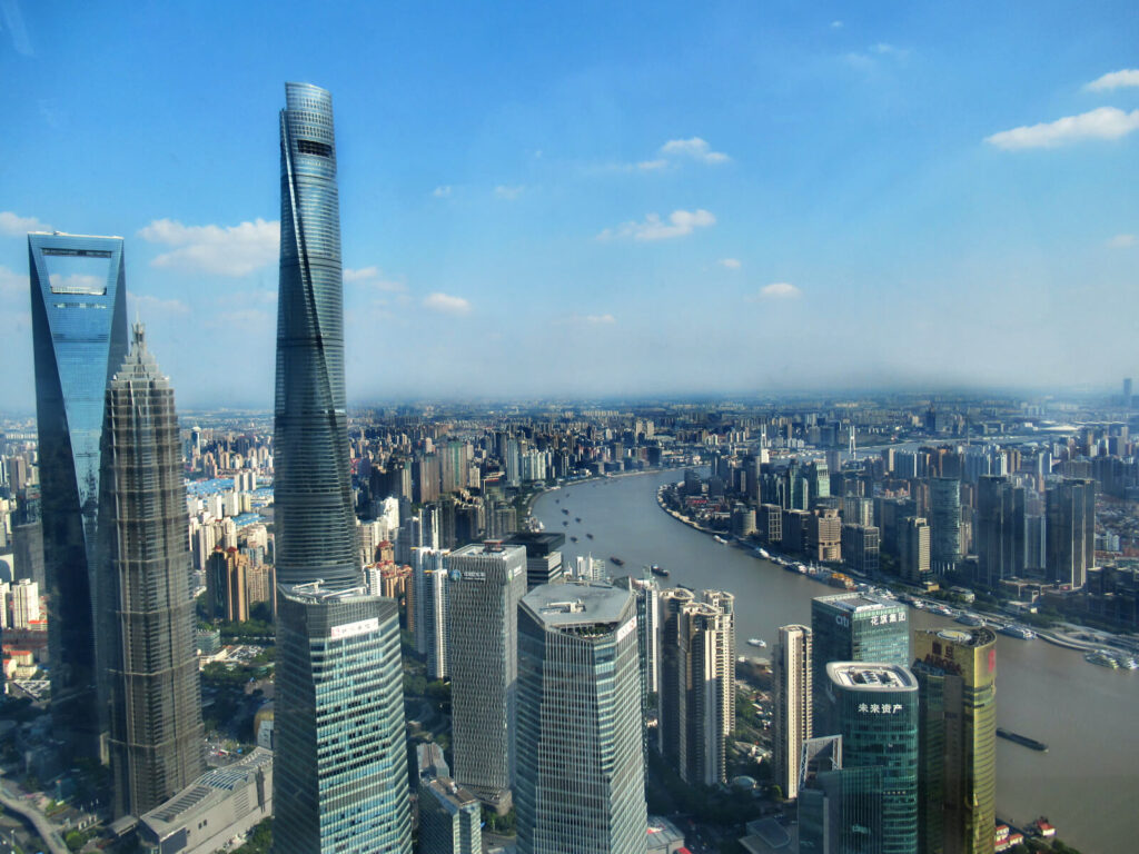 The view from the Shanghai TV tower at 351 metres up from the ground! This is a must visit on any Shanghai 5-day itinerary!
