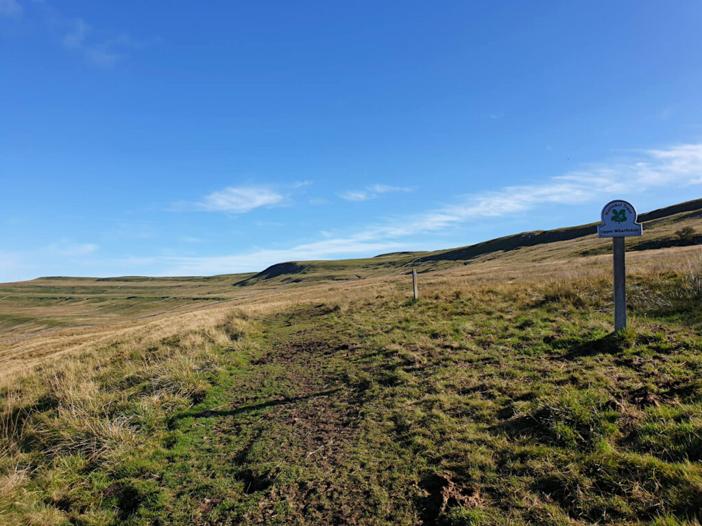 The ascent to Buckden Pike via Upper Wharfedale. Vast fields climbing steeply towards the summit.