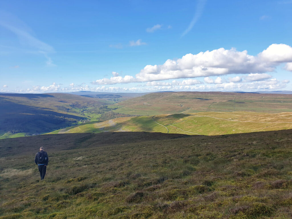 Descending from the Polish Memorial and Buckden Pike Summit. Very cross country here. Sprawling bog land and spectacular views over the national park.