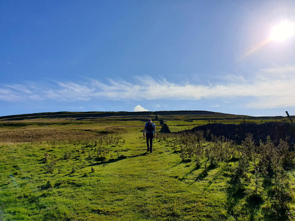 The ascent crosses many fields, the summit is still far in the distance! The sun beams down on the vast green fields.