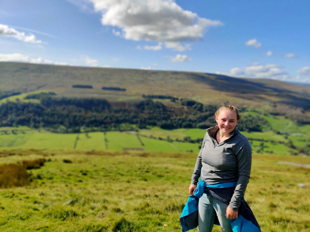 Sore legs and smiles! Walking in the beautiful surroundings of rolling green hills and bright blue skies