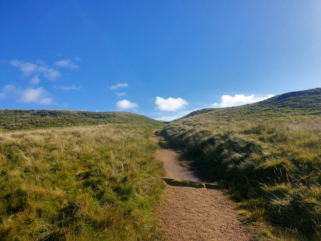 A more established footpath on the ascent to Buckden Pike. The path continues to climb towards the sky!