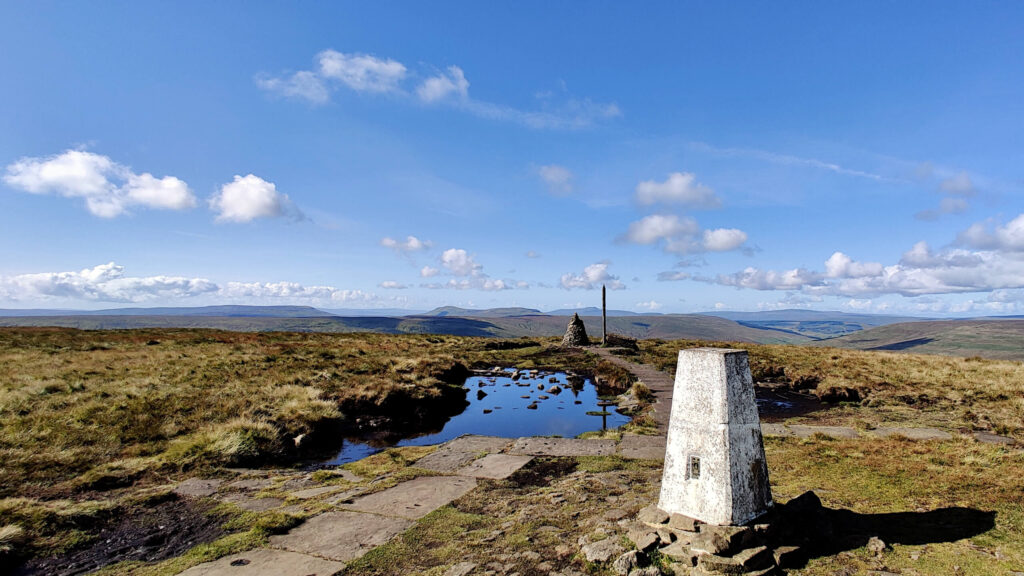 Views from the summit of Buckden Pike over many Yorkshire Dales peaks