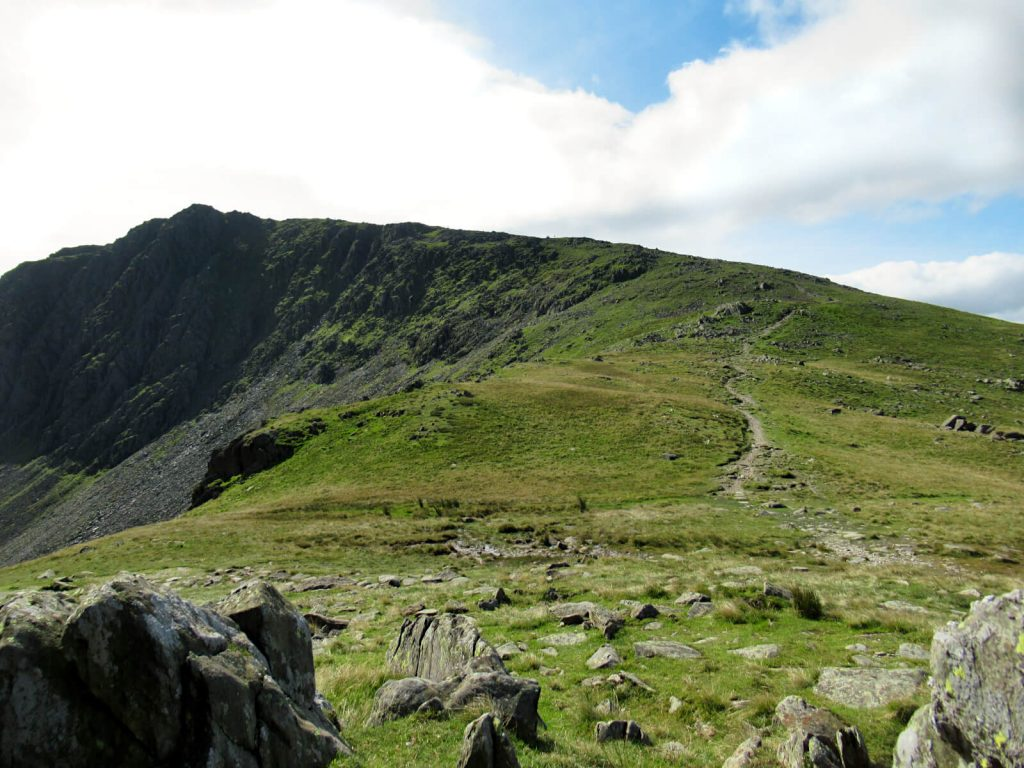 Looking up at Dow Crag from the dip between there and the Old Man of Coniston final ascent