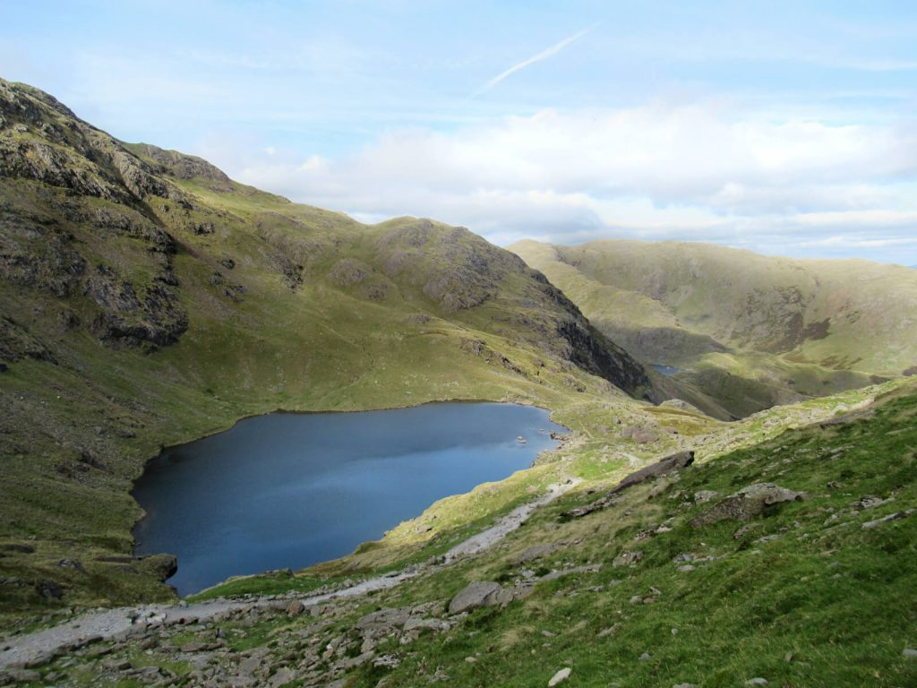 Low Water on the eastern side of the Old Man of Coniston, the final stage of this Old Man of Coniston Circular Walk