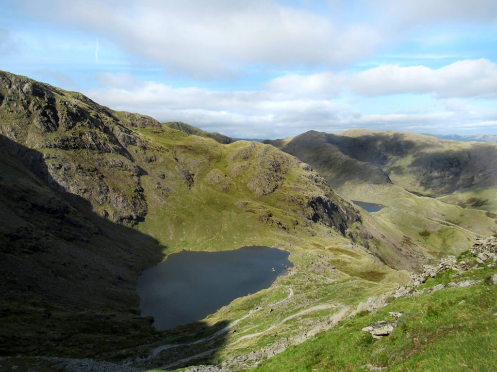 Looking over Low Water on the final stretch of this Old Man of Coniston Walk