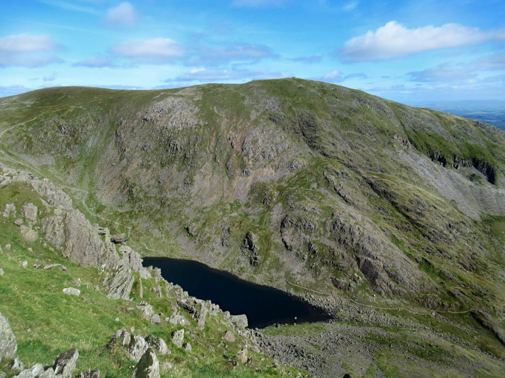Overlooking Goat's Water and the top of the Old Man of Coniston on this circular walk route
