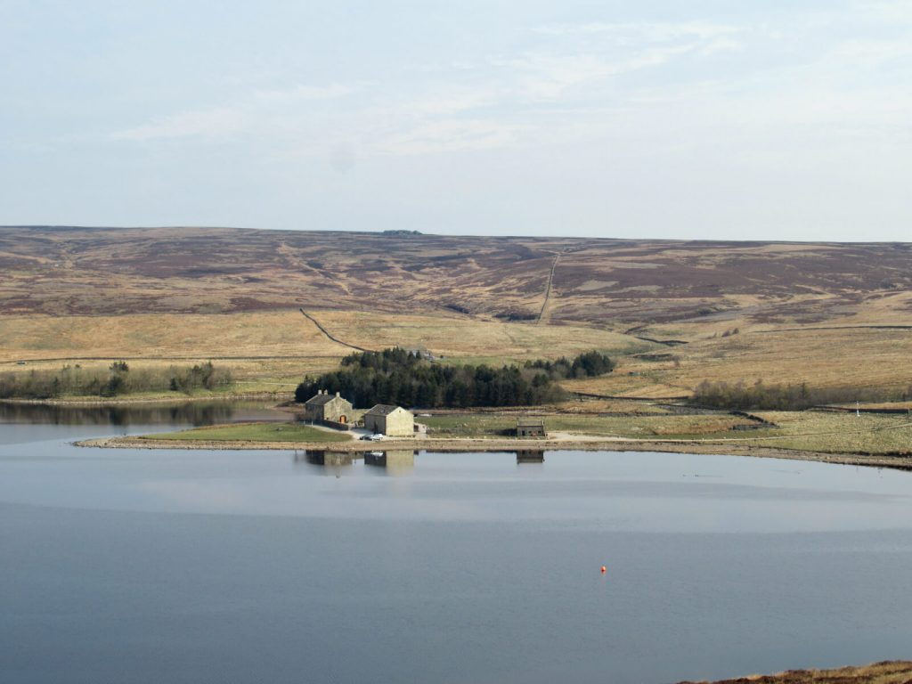 The holiday cottages on the eastern side of Grimwith Reservoir