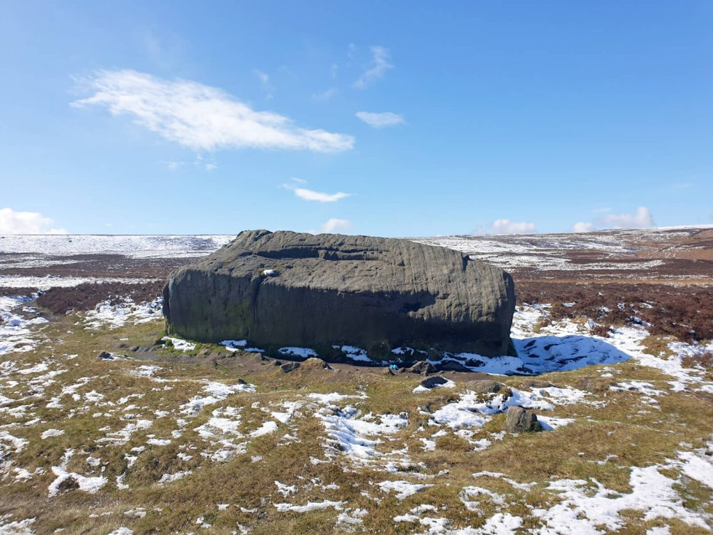 Haystack Rock - a large rock, but small in comparison to others on Ilkley Moor.