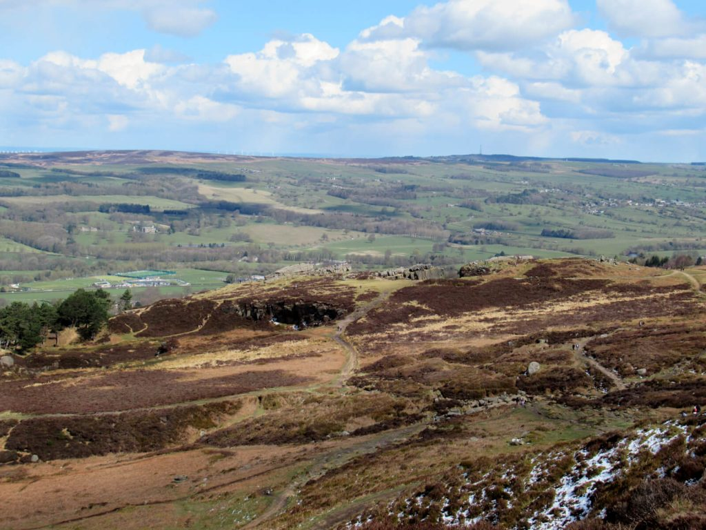 Overlooking the cow and calf rocks from the moorland.