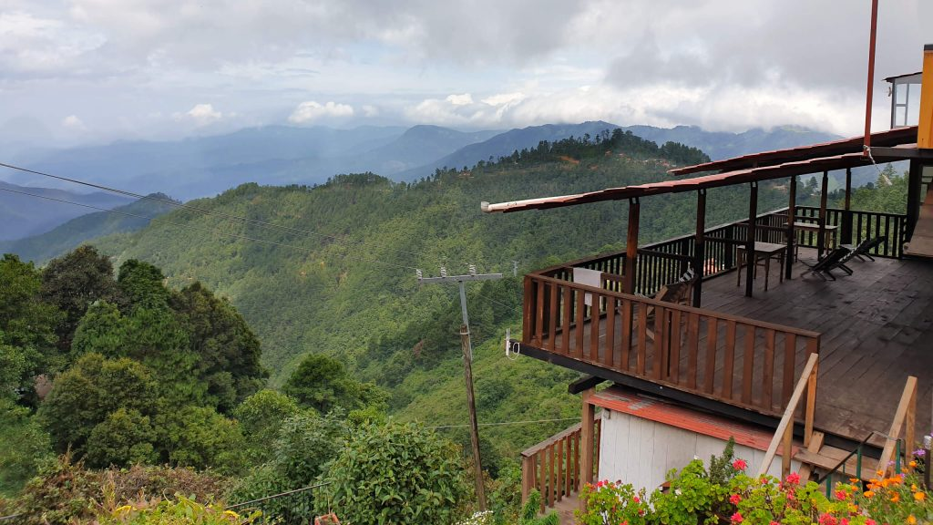 The beautiful Oaxacan mountains behind one of the terraces at La Cumbre