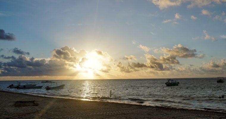 Sunrise over the Caribbean from the east coast of Quintana Roo