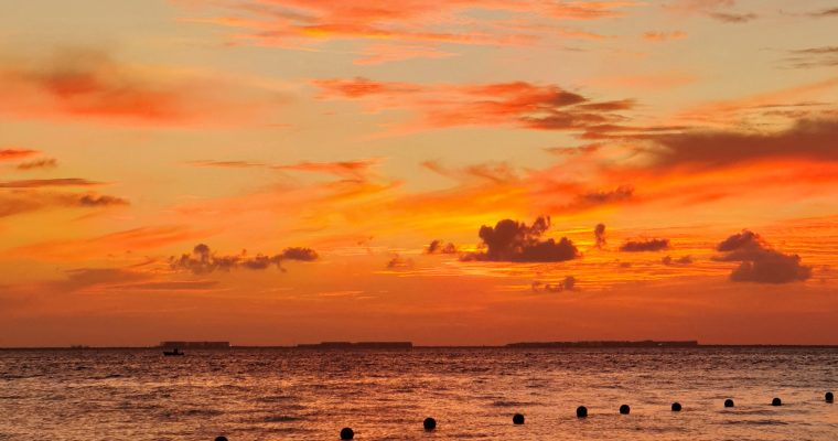 Sunset over the Caribbean Sea in Cancun