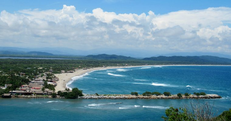 The pristine beach and perfect surf on the island of Chacahua, part of a national park
