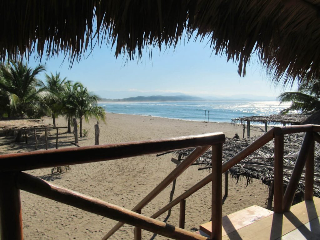 The view of the Pacific Ocean from the door of my on-the-beach cabana