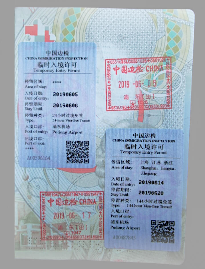 Open passport page showing a 24-hour China Transit Visa and 144-hour China Transit Visa issued at Shanghai Pu Dong Airport and exit stamps